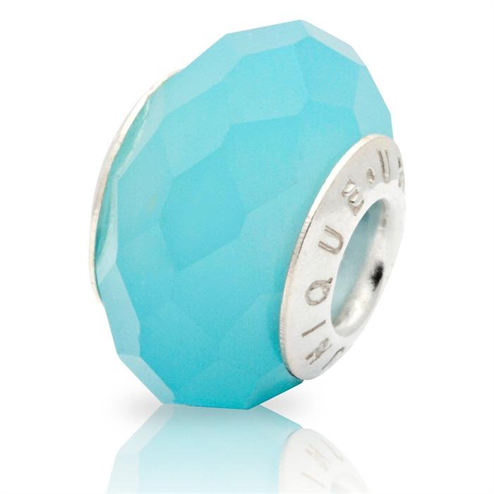 Blauer Bead aus synthetischem Mondstein