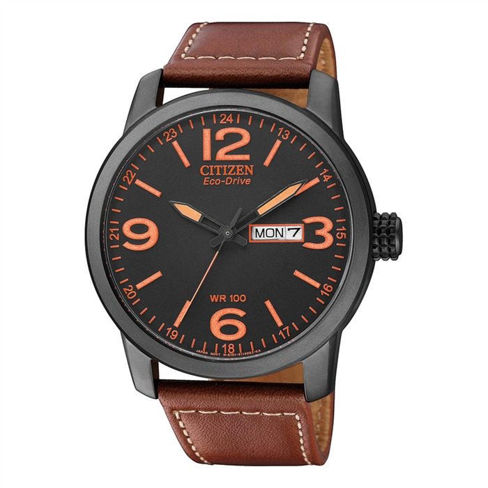 Sports Herrenuhr Leder braun