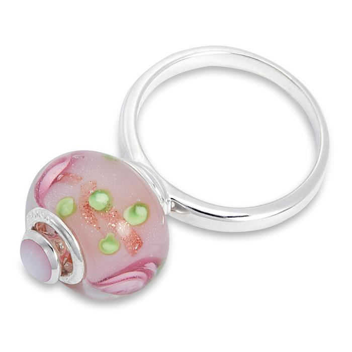 Moderner Silberring zum Tragen von Beads