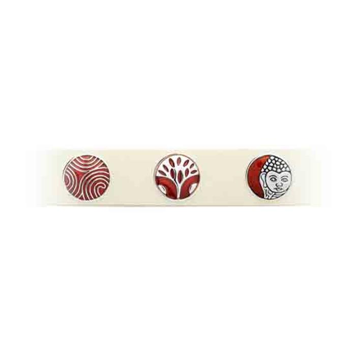 Button Emaille rotes Blumenmuster