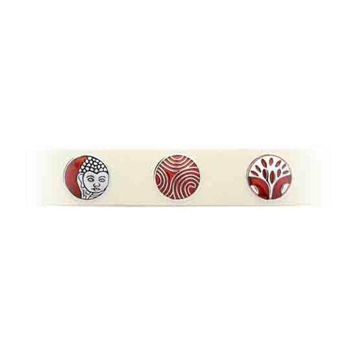 Button Emaille rot-silbernes Muster