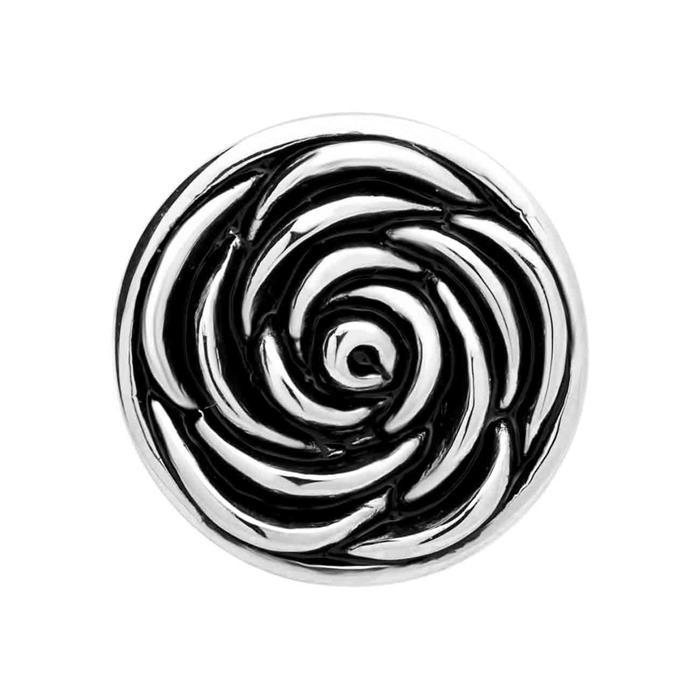 Button schwarz-silbernes Blütenmuster