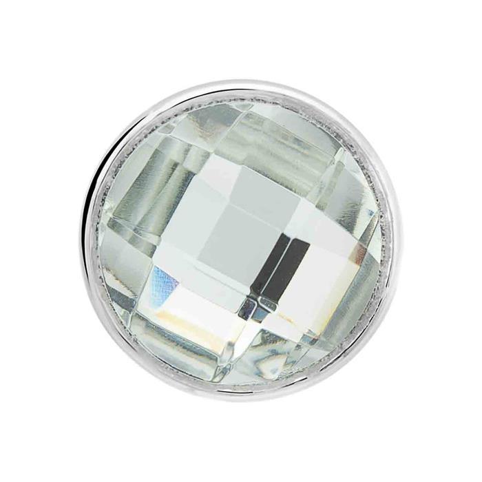 Button facettiertes weißes Glas