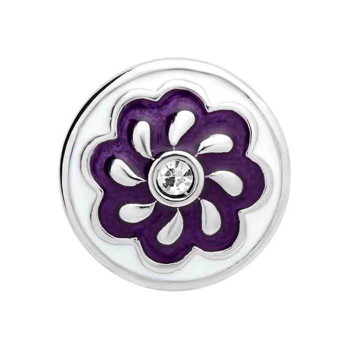 Button Emaille Zirkonia blau-weiß