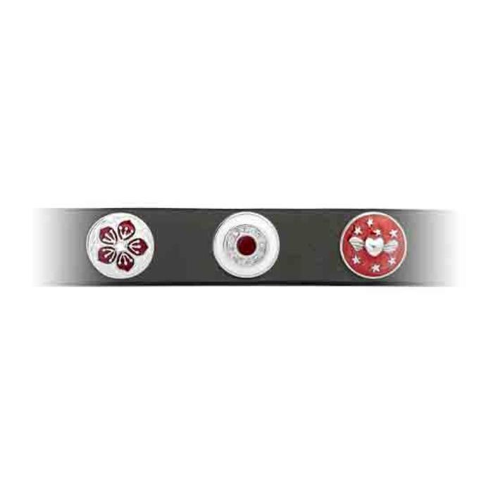 Button rot-weiße Emaille Zirkonia
