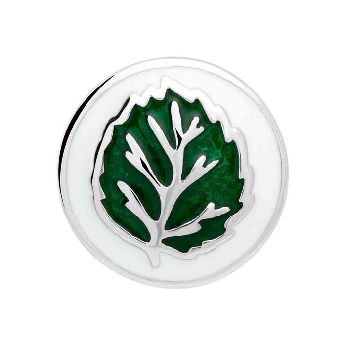 Button Emaille grünes Blatt