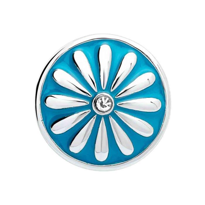Button Emaille türkise Sonne Zirkonia