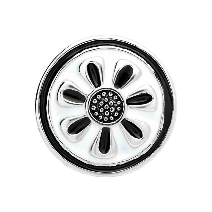 Button weiß-schwarze Emaille Blütenmuster