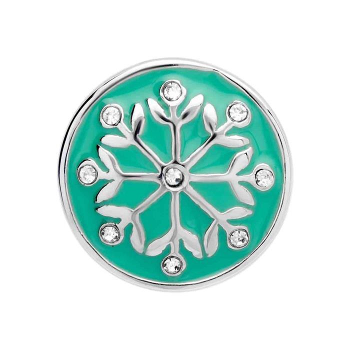 Button grüne Emaille Blumen Zirkonia