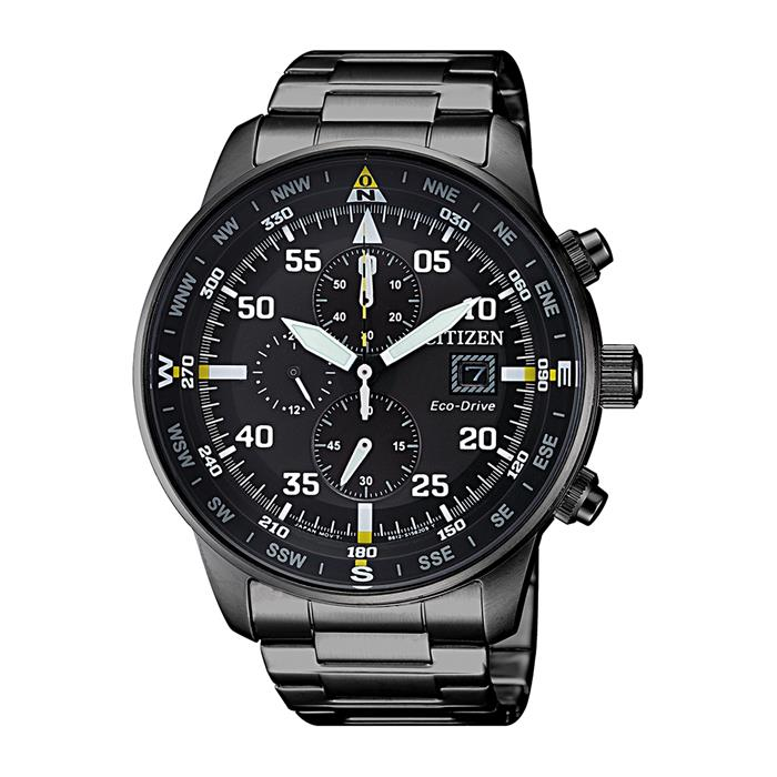 Eco Drive Chronograph for men, stainless steel, black