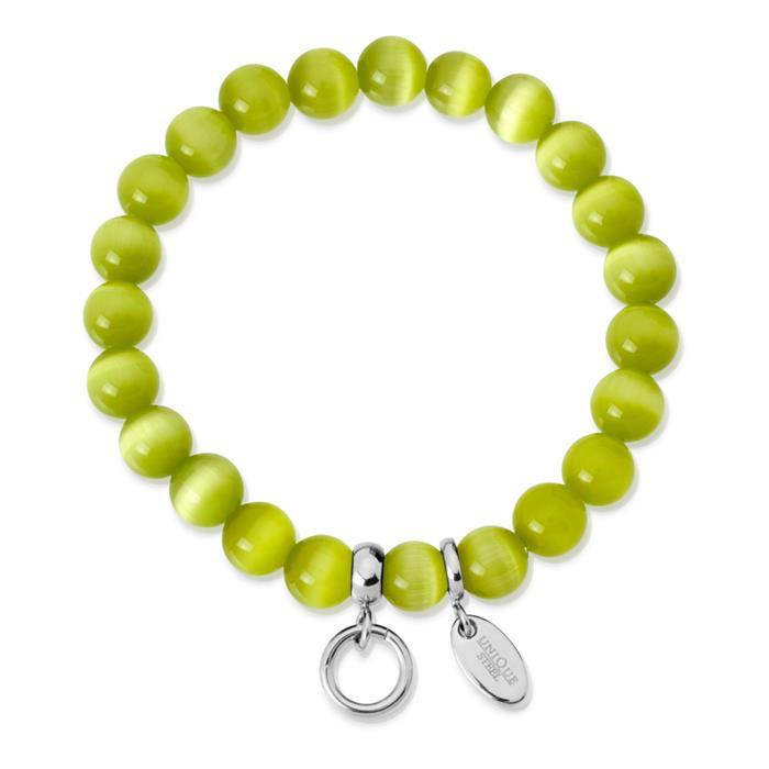 Charm Armband mit Perlen grün 15,5 bis 19,5cm
