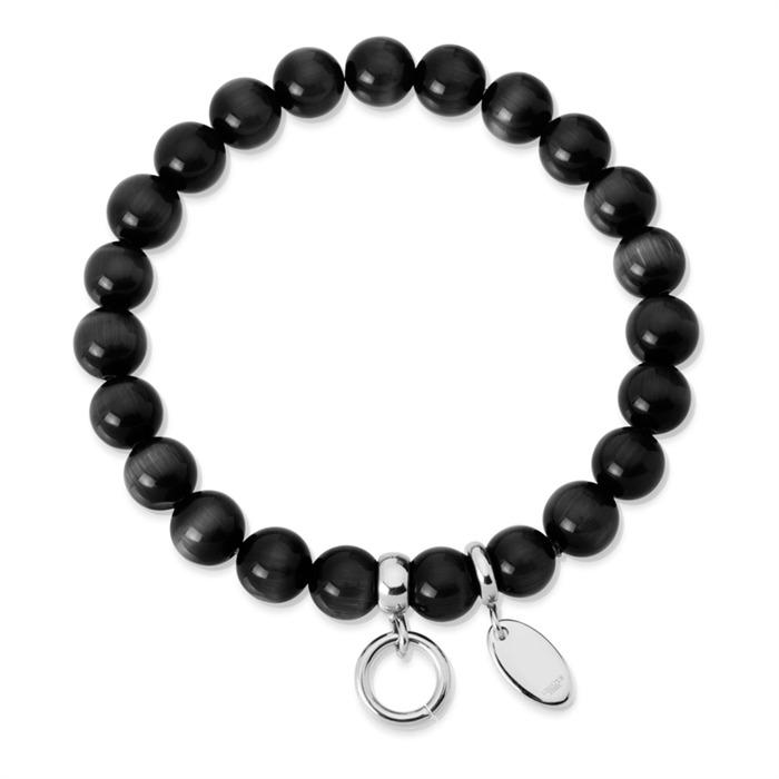 Charm Armband mit Perlen schwarz 15,5 bis 19,5cm