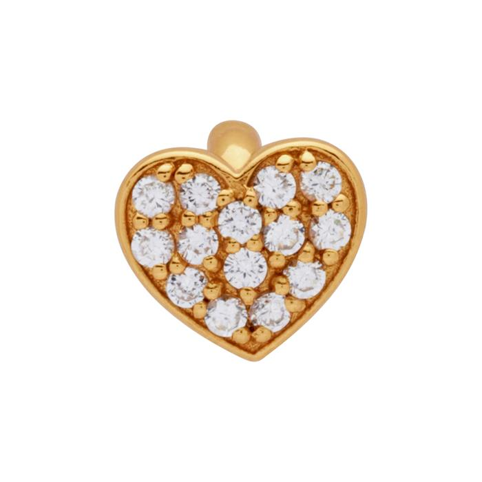 Vergoldeter 925 Silber Clip Charm mit Zirkonia