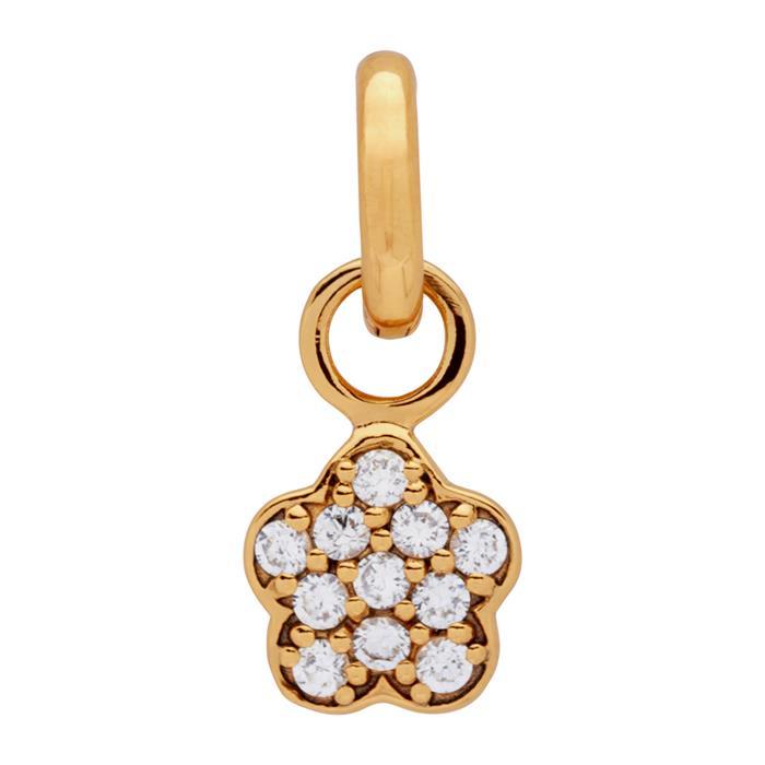 Vergoldeter 925 Silber Clipcharm mit Zirkonia