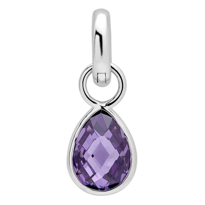 Clip Charm Sterling Silver Amethyst
