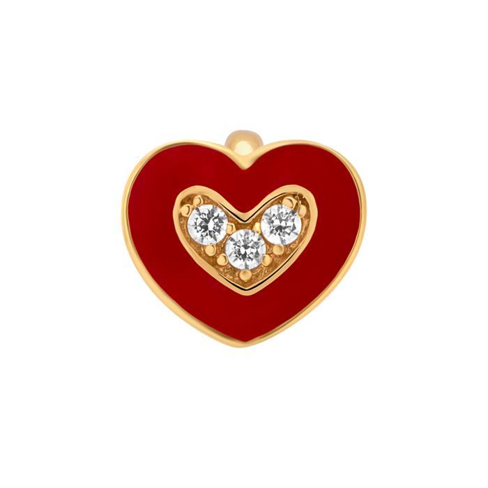 Clip Charm 925 Silber vergoldet Emaille Herz