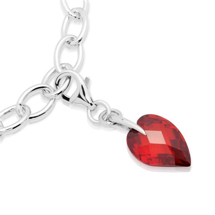 Charm aus 925 Silber Herz aus Granat