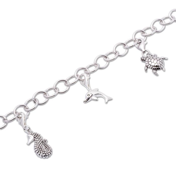 925 Silber Charm Armband Meerestiere