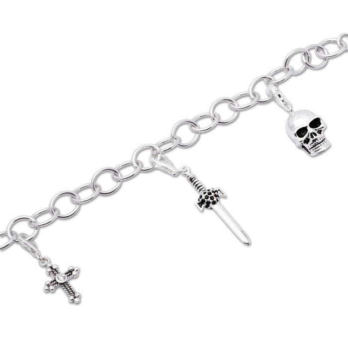 925 Silber Charm Armband Gothic
