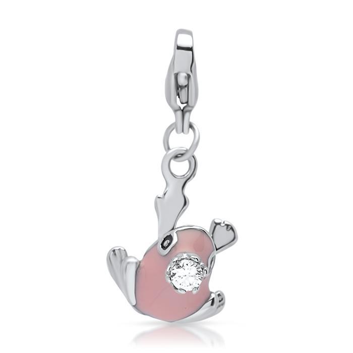 Edelstahl Charm rosa Froschkönig mit Krone