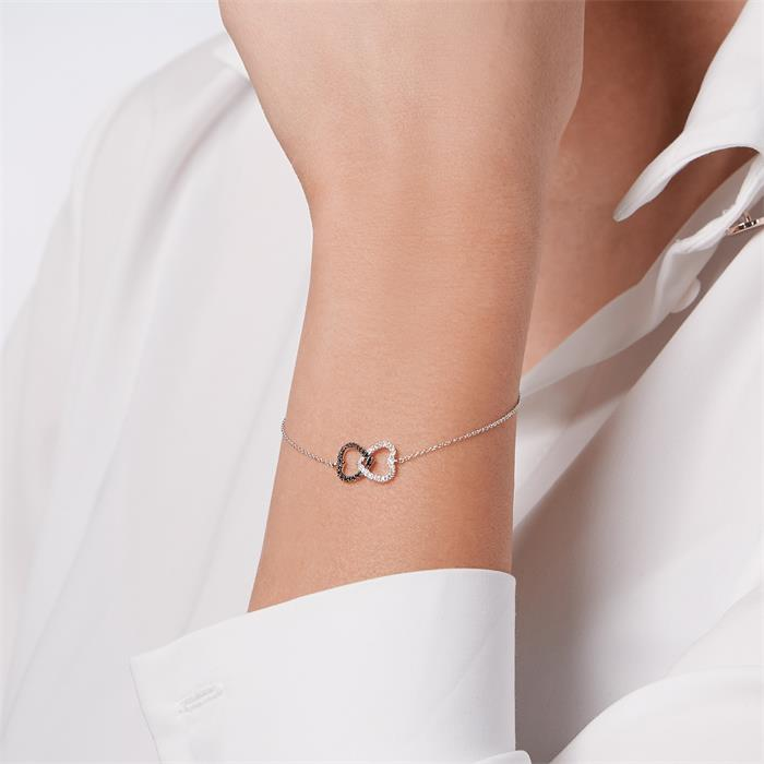 Diamantarmband Herzen rhodiniert 0,086 ct gesamt