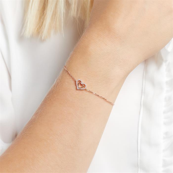 750er Roségold-Armband Herz 28 Diamanten