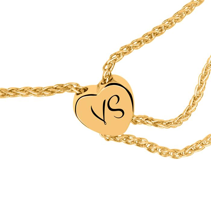 585er Goldarmband Herz mit Diamanten