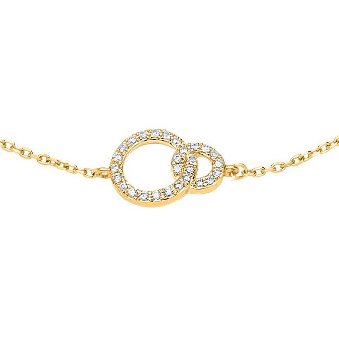585er Goldarmband Kreisdesign mit Diamanten