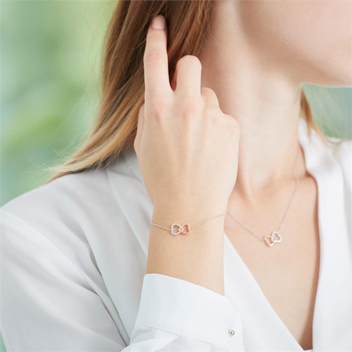 Herzarmband aus 585er Weißgold mit Diamanten