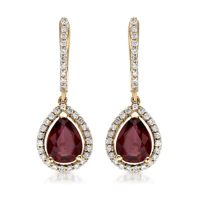 585er Goldcreolen mit Diamant- und Rubinbesatz