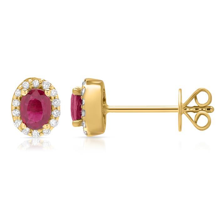 585er Goldohrstecker mit Rubin und Diamanten