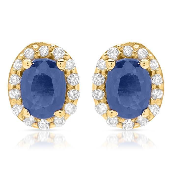585 Goldohrstecker mit Saphir- und Diamantbesatz
