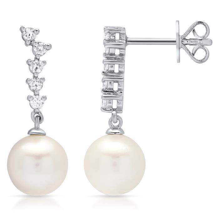 585 Weißgold Ohrstecker Diamant- & Perlenbesatz
