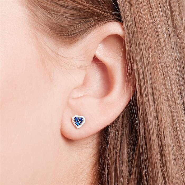 Unique Diamond Earrings Hearts Sapphires 0 45ct Total De0037