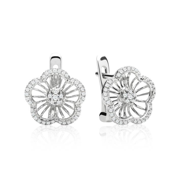 Blütenförmiger 14 k Diamantohrschmuck 0,178 ct