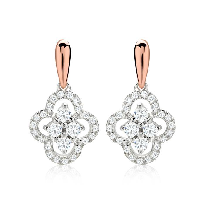 Diamantohrschmuck Blüte 0,157 ct gesamt bicolor
