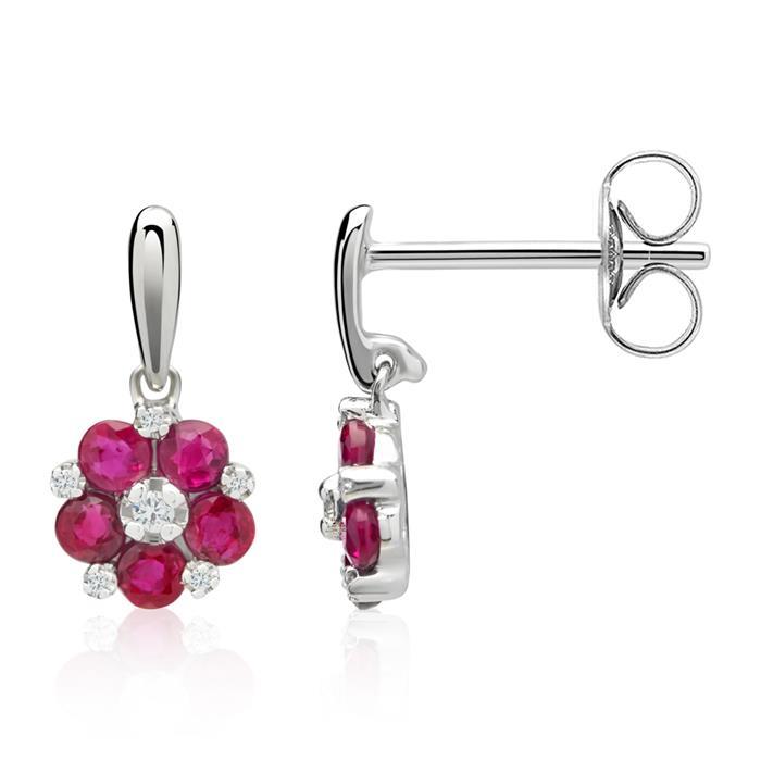 Blüten Diamant-Ohrschmuck Rubine 0,838 ct gesamt