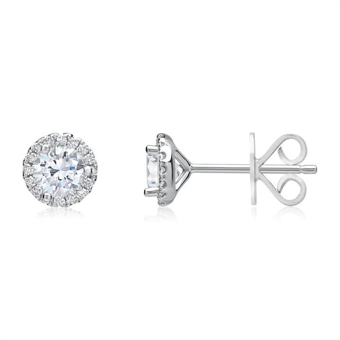 Runde Diamant-Ohrstecker 750er Weißgold 0,88 ct.