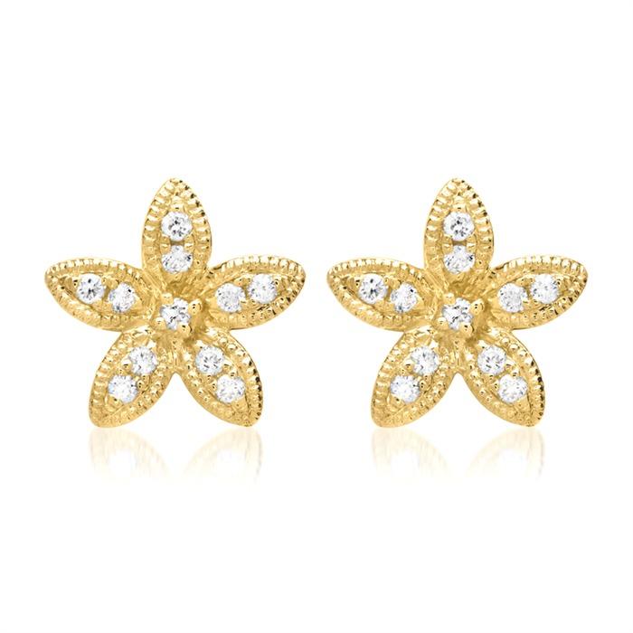 Blütenohrstecker 750er Gelbgold 22 Diamanten