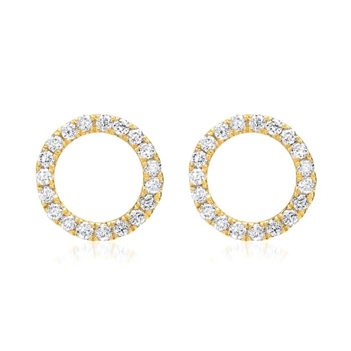 750er Gelbgold-Ohrringe Kreis 38 Diamanten