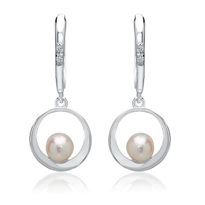 585er Weißgold-Ohrringe 4 Diamanten 0,024 ct.