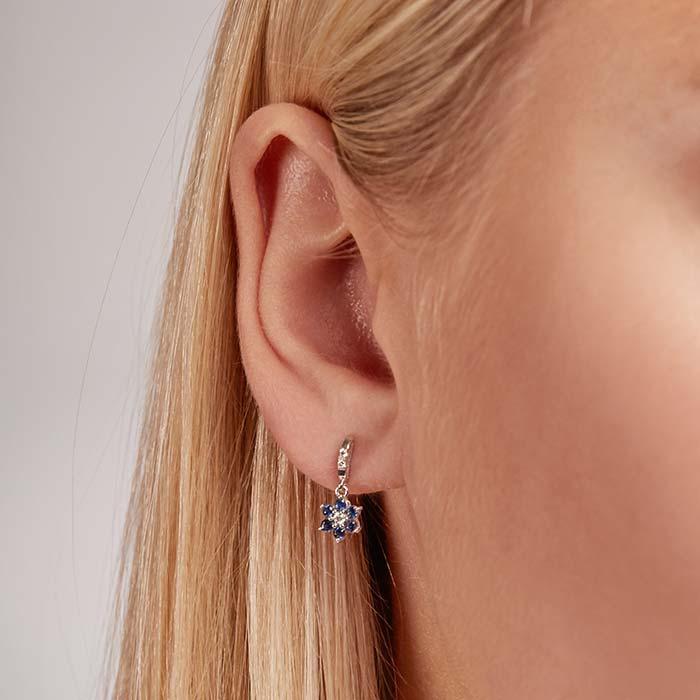 Weißgold-Ohrringe Saphire 0,42 ct. Diamanten