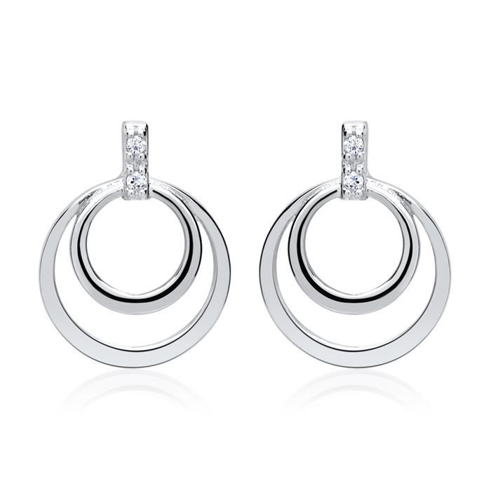 585er Weißgold-Ohrringe Kreis 4 Diamanten