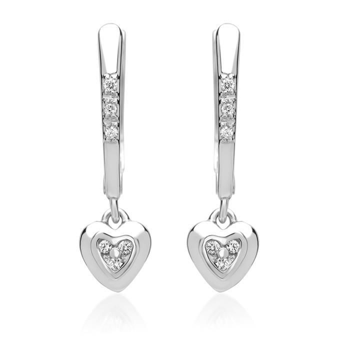 Weißgold-Ohrringe Herzchen 12 Diamanten