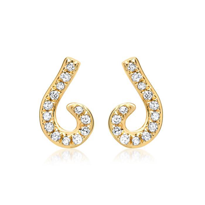 585er Gelbgold-Ohrringe 26 Diamanten 0,10ct.