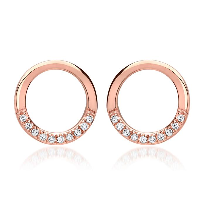 585er Roségold-Ohrstecker 20 Diamanten 0,09ct.