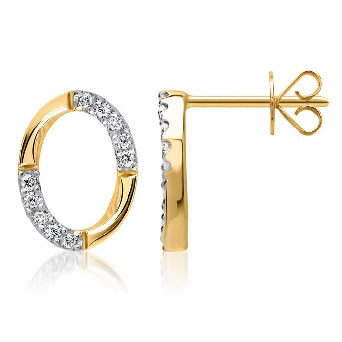 585er Gelbgold-Ohrstecker 20 Diamanten 0,12 ct.