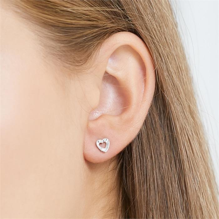 Herz-Ohrstecker 585er Weißgold 2 Diamanten