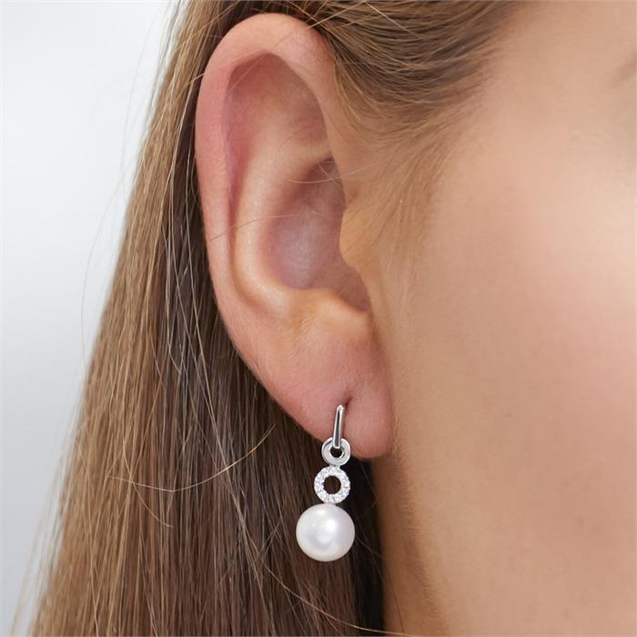 585er Weißgold-Ohrringe Perle 20 Diamanten