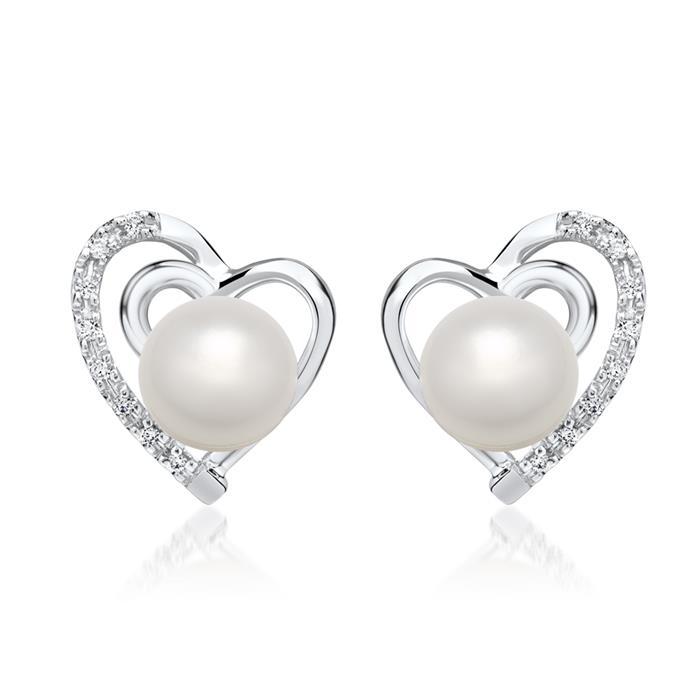 angemessener Preis Volumen groß Gutscheincode 585er Weißgold-Ohrringe Herz Perle mit Diamanten